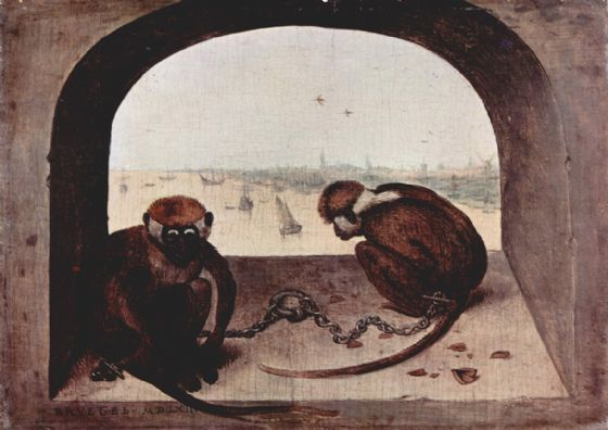Bruegel the Elder, Pieter: Two Chained Monkeys. Fine Art Print/Poster. Sizes: A4/A3/A2/A1 (00455)
